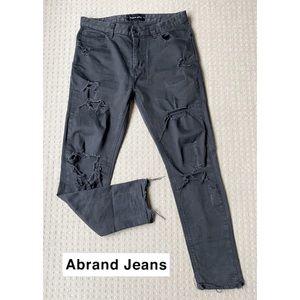 Abrand Black Cropped Slim Ripped Jeans Sz W30 L29